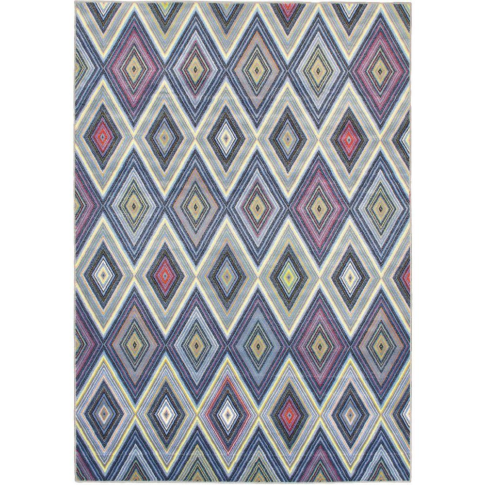ECARPETGALLERY Carpette, 6 pi 7 po x 9 pi 6 po, rectangulaire, bleu Chroma