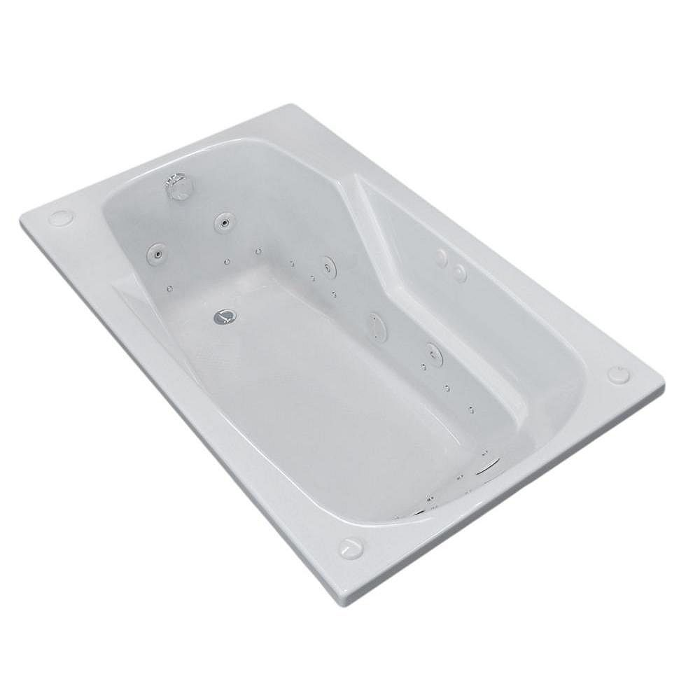 Universal Tubs Coral Diamond 6 Ft. Acrylic Drop-in Left Drain Rectangular Whirlpool and Air Bathtub in White