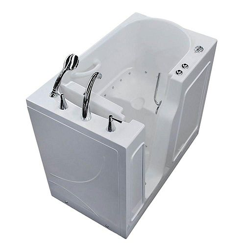 3 ft. 9-inch Left Drain Walk-In Air Bathtub in White 46 inch L x 26 inch W x 38 inch H