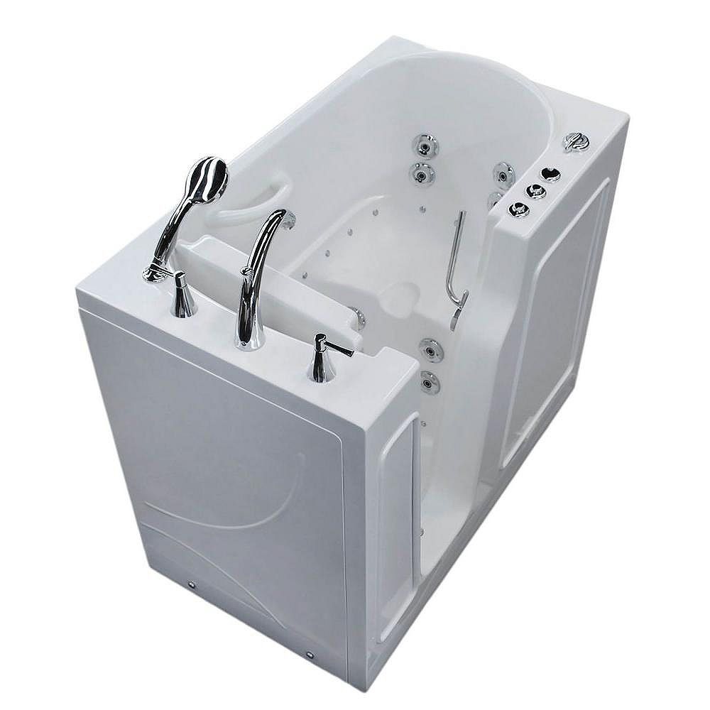 Universal Tubs 3 ft. 9-inch Left Drain Walk-In Whirlpool and Air Bathtub in White 46 inch L x 26 inch W x 38 inch H