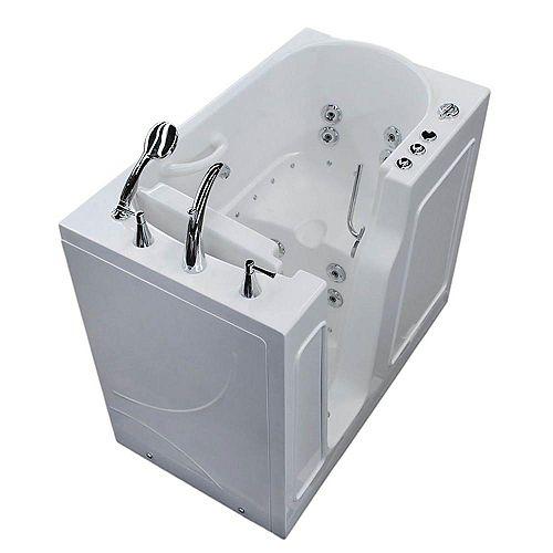 3 ft. 9-inch Left Drain Walk-In Whirlpool and Air Bathtub in White 46 inch L x 26 inch W x 38 inch H