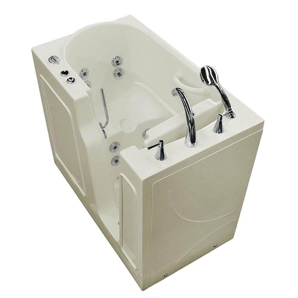 Universal Tubs 3 ft. 9-inch Right Drain Walk-In Whirlpool Bathtub in Biscuit