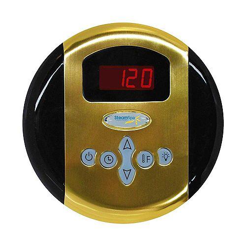 Panneau de commande programmable avec heure et température et fini en laiton poli