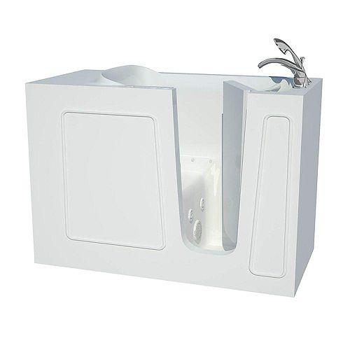 4 ft. 5-inch Fiberglass Alcove Rectangular Right Drain Walk-In Bathtub ADA Compliant in White