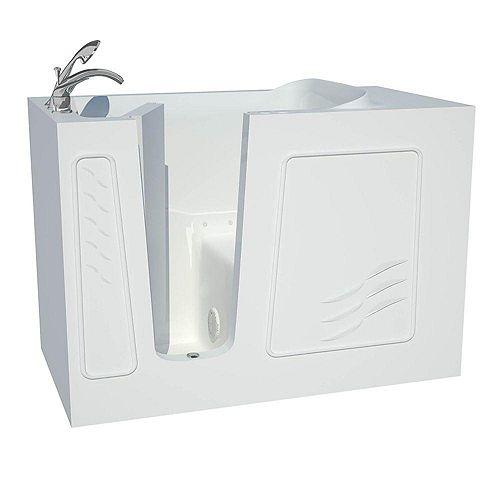 4 ft. 5-inch Fiberglass Alcove Rectangular Left Drain Whirlpool Walk-In Inward Swing Bathtub in White