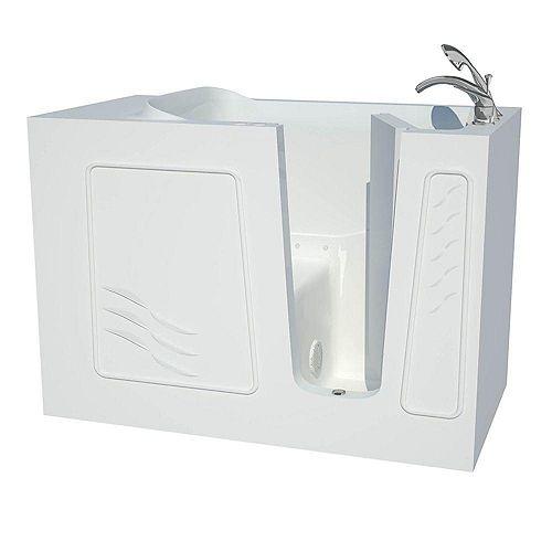 4 ft. 5-inch Fiberglass Alcove Rectangular Right Drain Whirlpool Walk-In Bathtub in White