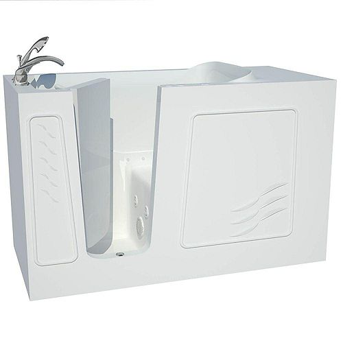 Contractor Series 5 ft. Left Drain Walk-In Whirlpool and Whirlpool Air Bath Tub in White