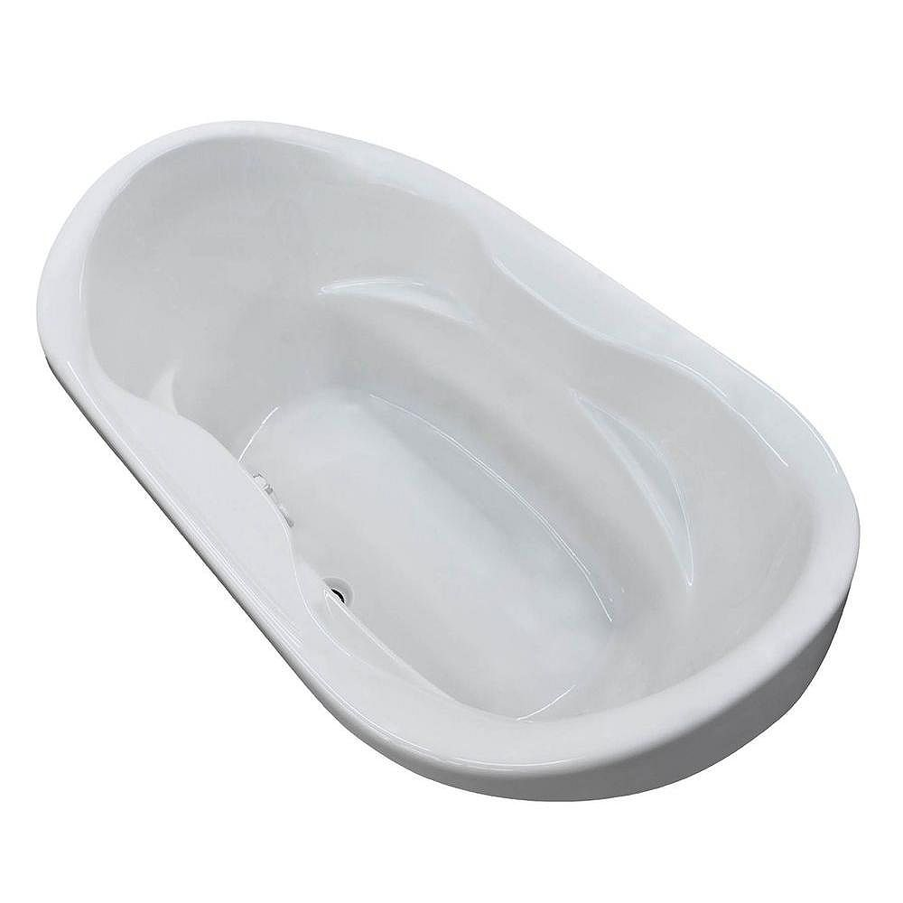 Universal Tubs Ruby Waterfall 6 Feet Acrylic Oval Drop-in Bathtub in White
