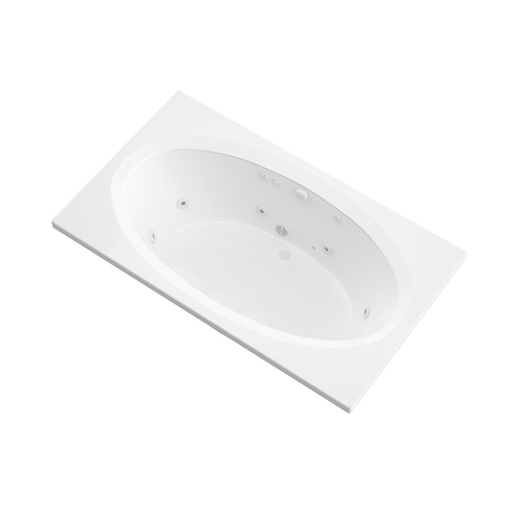 Universal Tubs Imperial 6 ft. Acrylic Drop-in Center Drain Rectangular Whirlpool Bathtub in White