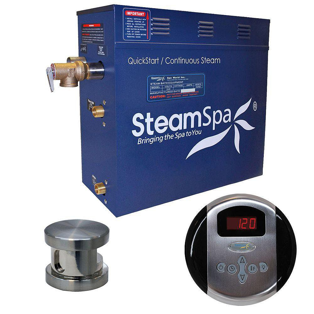 Steamspa Oasis 6kw Steam Generator Package in Brushed Nickel