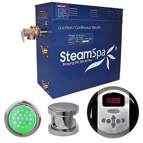 Steamspa Ensemble de générateur de vapeur de 6kW Indulgence au fini chromé