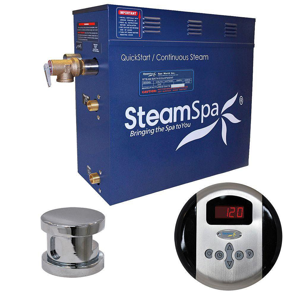 Steamspa Oasis 7.5kW Steam Bath Generator Package in Chrome