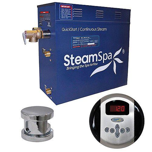 Steamspa Ensemble de générateur de vapeur de 7,5kW Oasis au fini chromé