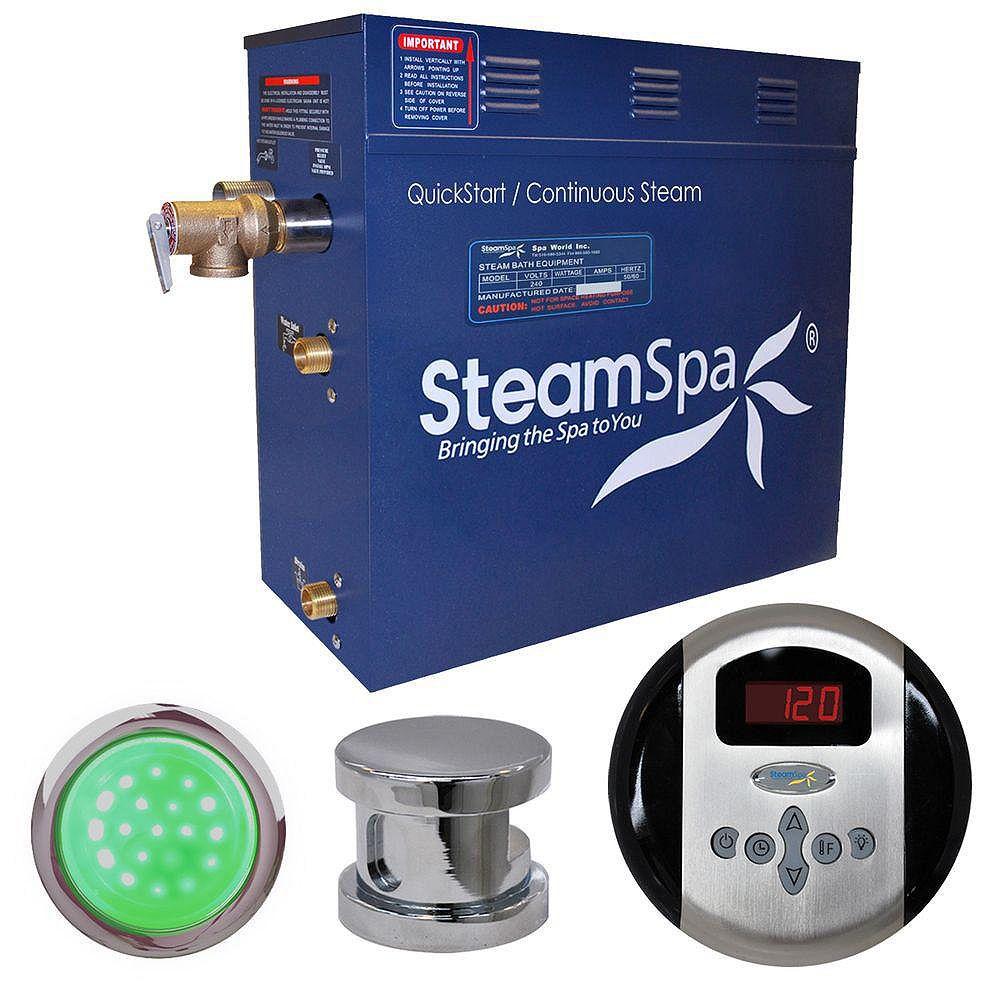 Steamspa Ensemble de générateur de vapeur de 7,5kW Indulgence au fini chromé
