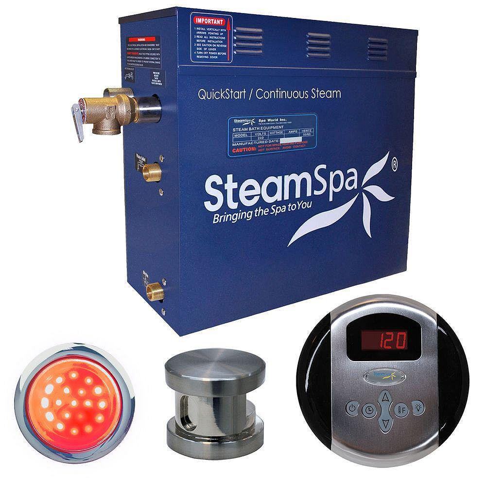 Steamspa Ensemble de générateur de vapeur de 9kW Indulgence en nickel brossé
