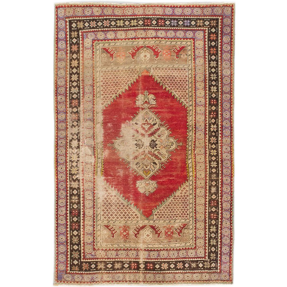 ECARPETGALLERY Hand-Knotted Anatolian Vintage Red 3 ft. 4-inch x 5 ft. 5-inch Rectangular Area Rug