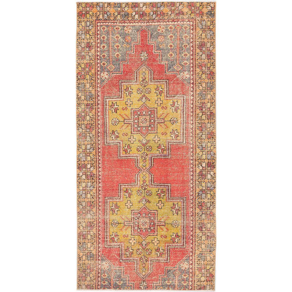 ECARPETGALLERY Carpette, 4 pi 2 po x 8 pi 6 po, nouée main, rectangulaire, rouge Vintage Anatolian