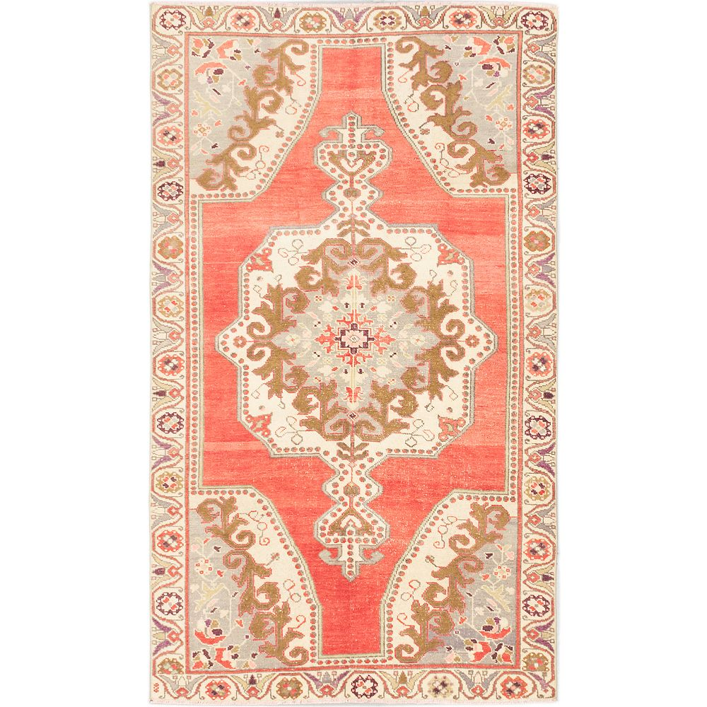 ECARPETGALLERY Hand-Knotted Anadol Vintage Off-White 4 ft. 3-inch x 7 ft. 4-inch Rectangular Area Rug