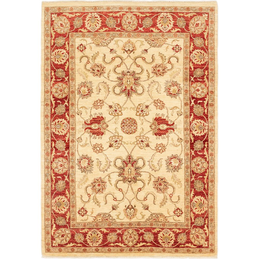 ECARPETGALLERY Hand-Knotted Chobi Finest Red 5 ft. 8-inch x 8 ft. 3-inch Rectangular Area Rug