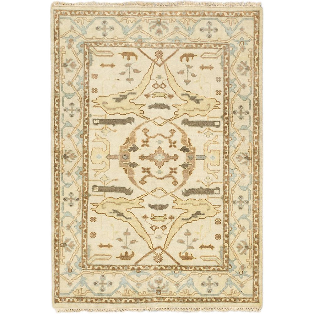 ECARPETGALLERY Hand-Knotted Royal Ushak Off-White 4 ft. 1-inch x 5 ft. 10-inch Rectangular Area Rug