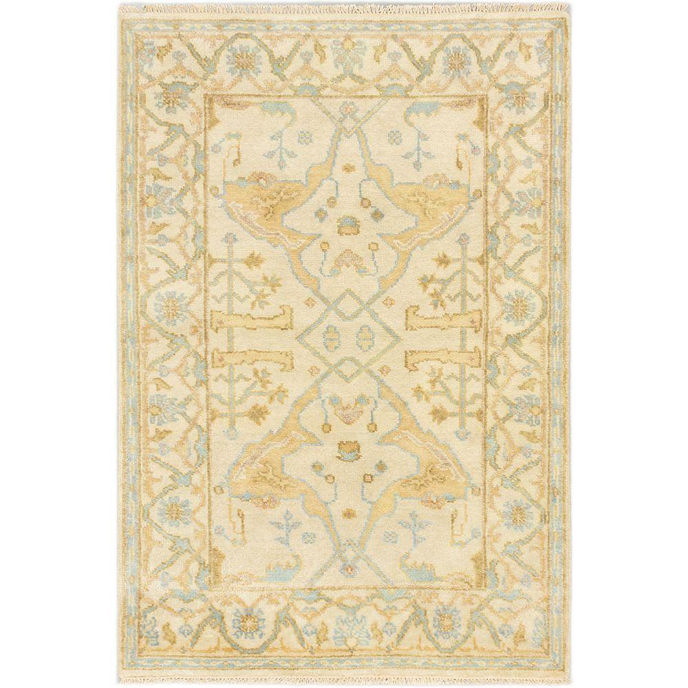 ECARPETGALLERY Carpette, 4 pi x 6 pi, nouée main, rectangulaire, blanc cassé Royal Ushak