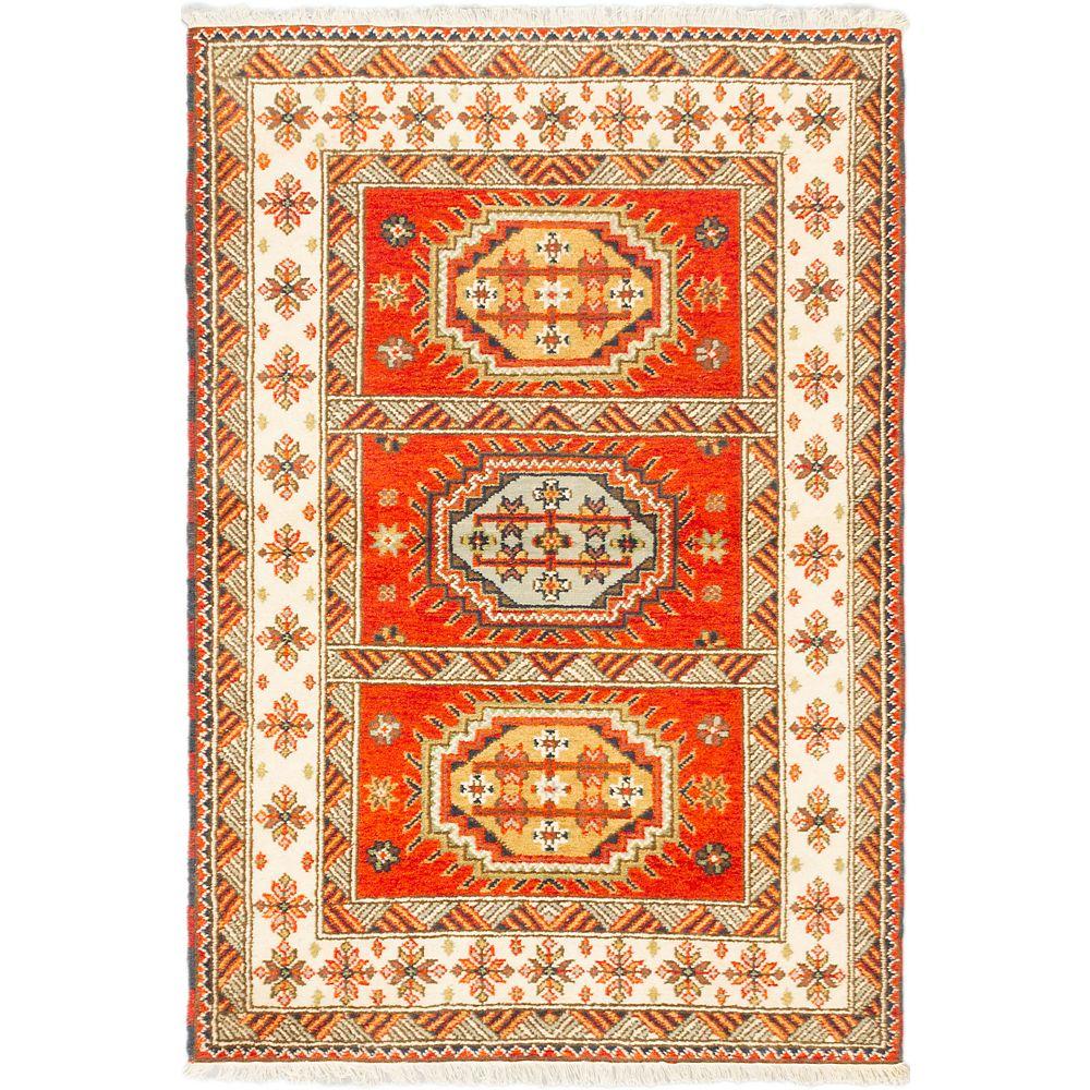 ECARPETGALLERY Carpette, 4 pi 8 po x 6 pi 10 po, nouée main, rectangulaire, orange Royal Avery
