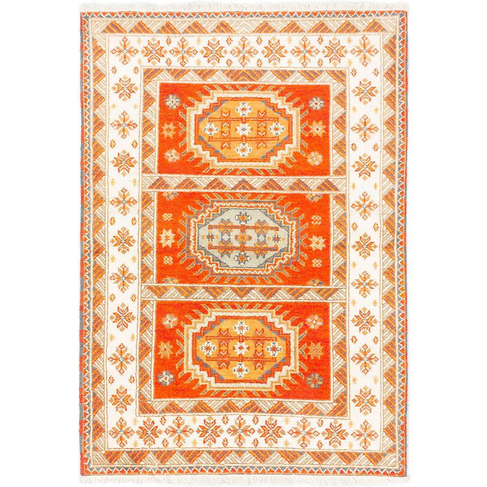 ECARPETGALLERY Carpette, 4 pi 8 po x 6 pi 8 po, nouée main, rectangulaire, orange Royal Avery