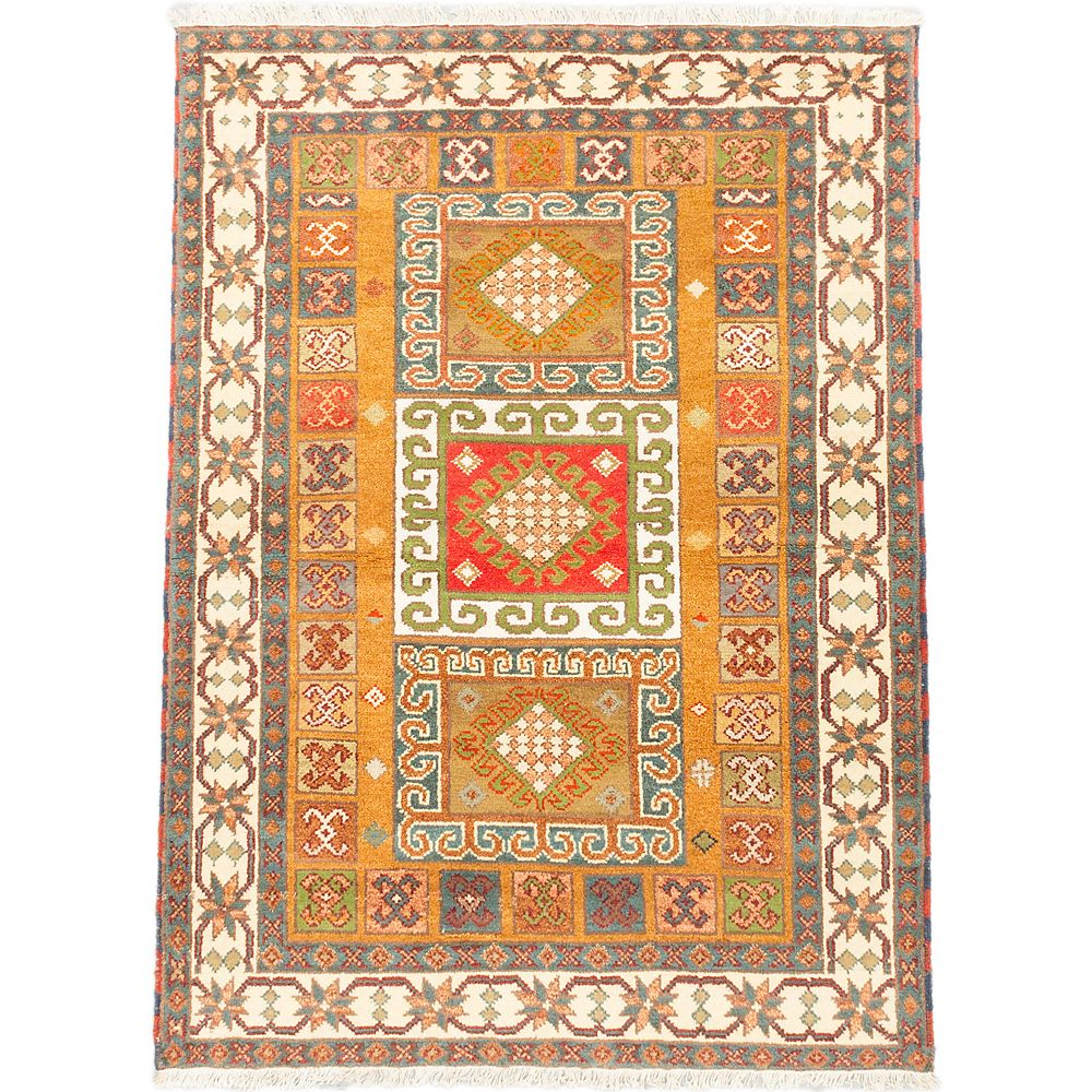 ECARPETGALLERY Hand-Knotted Royal Avery Beige Tan 4 ft. 8-inch x 6 ft. 4-inch Rectangular Area Rug