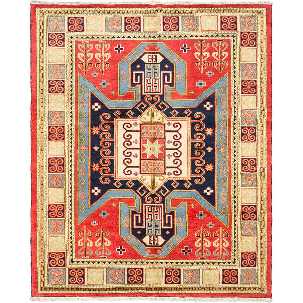 ECARPETGALLERY Hand-Knotted Royal Avery Orange 8 ft. 1-inch x 10 ft. 1-inch Rectangular Area Rug