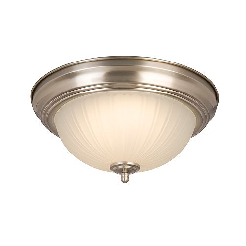 Commercial Electric 11-inch 100-Watt Equivalent Brushed Nickel Integrated LED Flush Mount with Frosted Glass Shade (2-Pack)