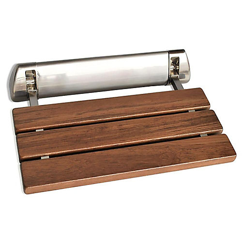 Wall Mounted Shower Bench in Brushed Nickel Trim