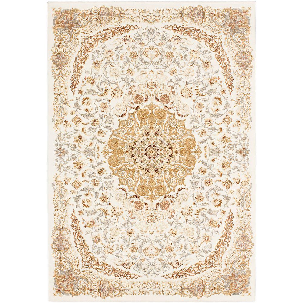 ECARPETGALLERY Persia Tabriz White 3 ft. 11-inch x 5 ft. 3-inch Rectangular Area Rug