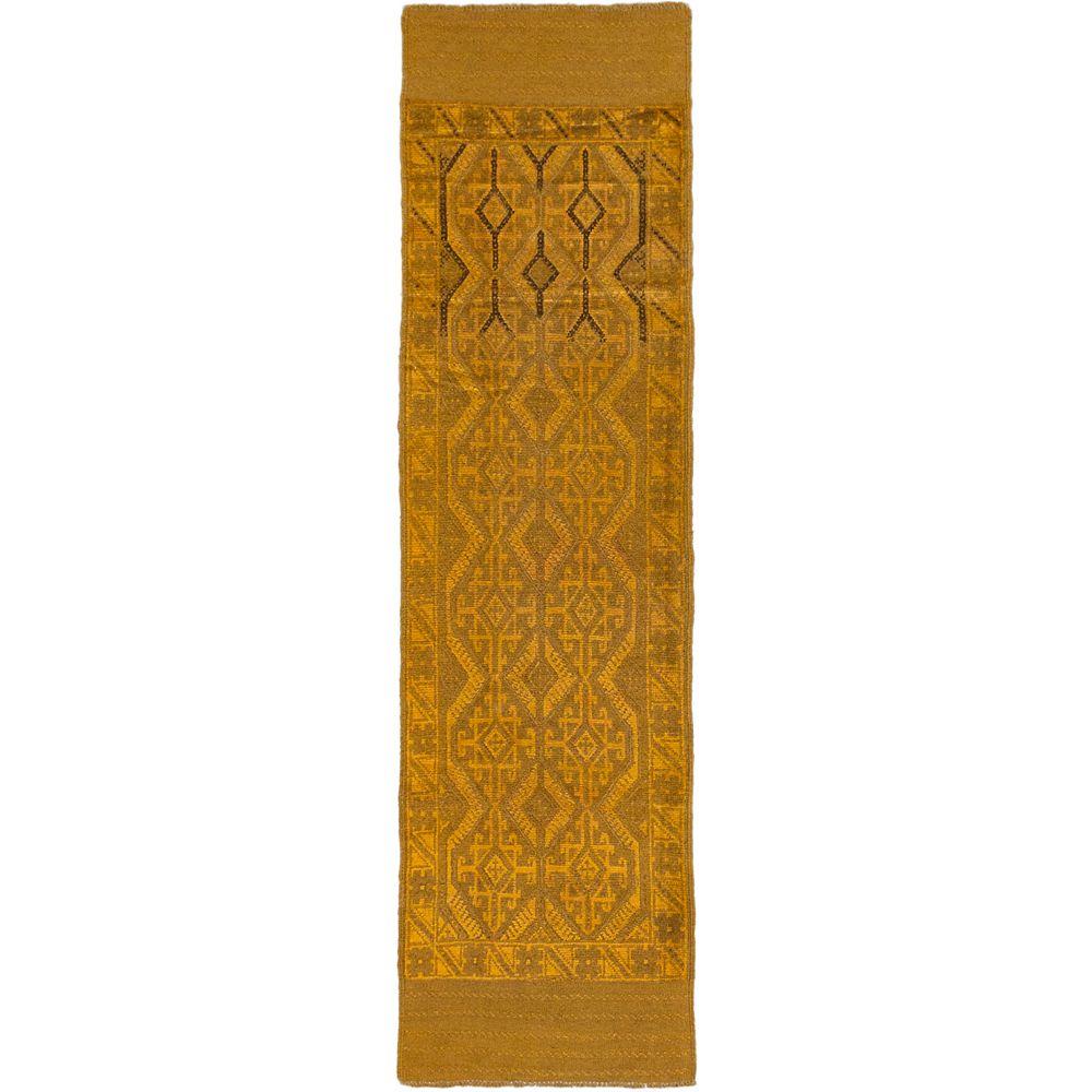 ECARPETGALLERY Tapis de passage, 2 pi 2 po x 8 pi, noué main, brun Tribeka