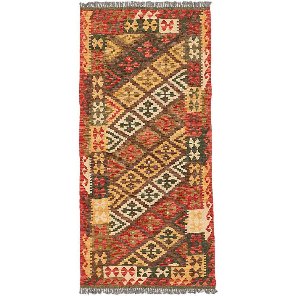 ECARPETGALLERY Carpette, 3 pi 1 po x 6 pi 6 po, tissée main, rectangulaire, brun Sivas Kilim