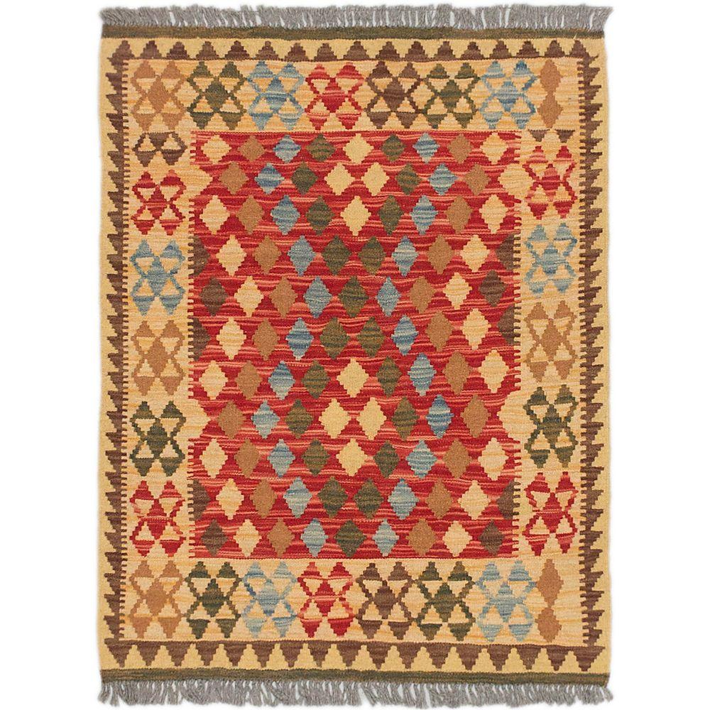 ECARPETGALLERY Carpette d'intérieur, 2 pi 11 po x 3 pi 9 po, tissée main, style traditionnel, rectangulaire, brun Sivas Kilim