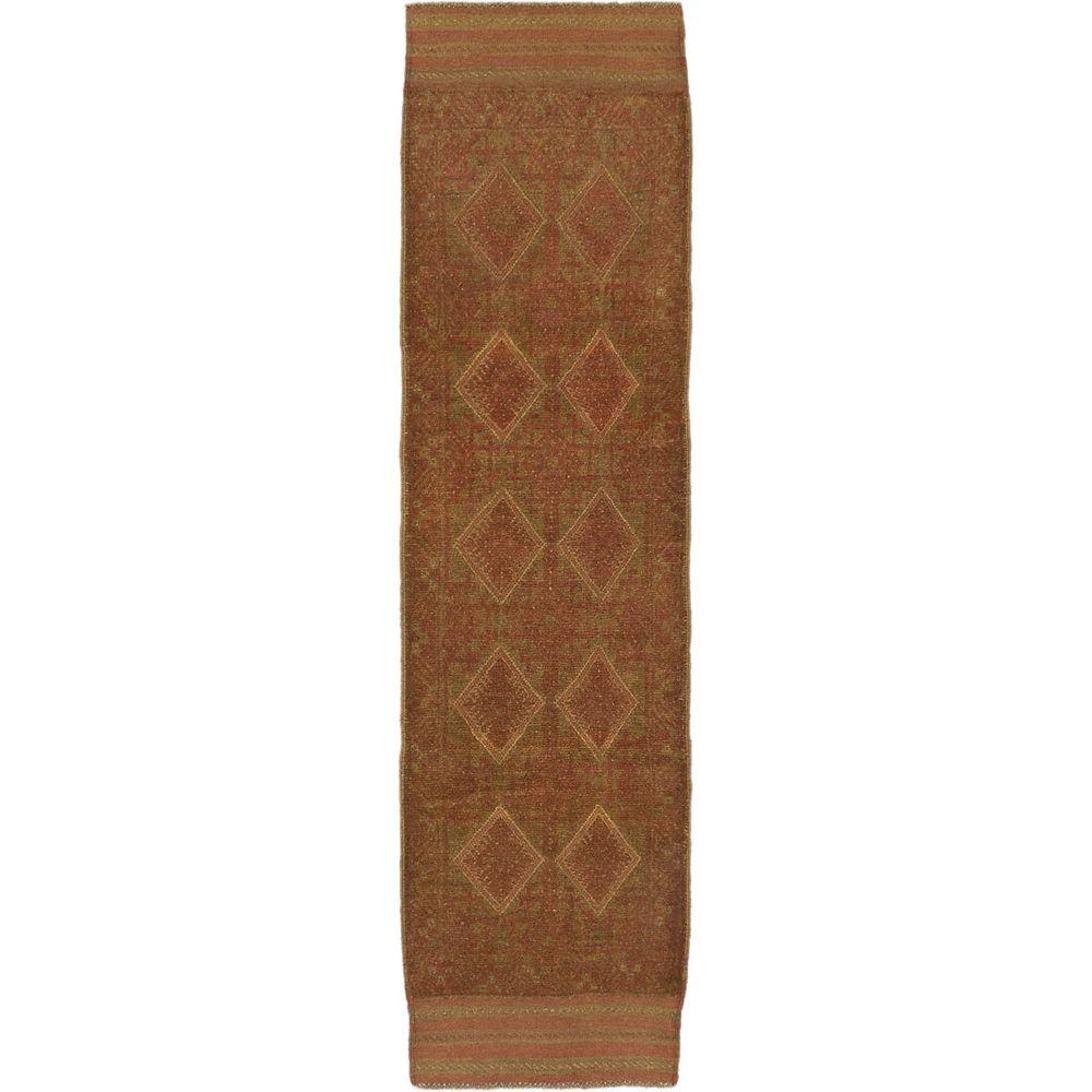 ECARPETGALLERY Tapis de passage, 2 pi 2 po x 7 pi 11 po, nouée main, brun Tribeka