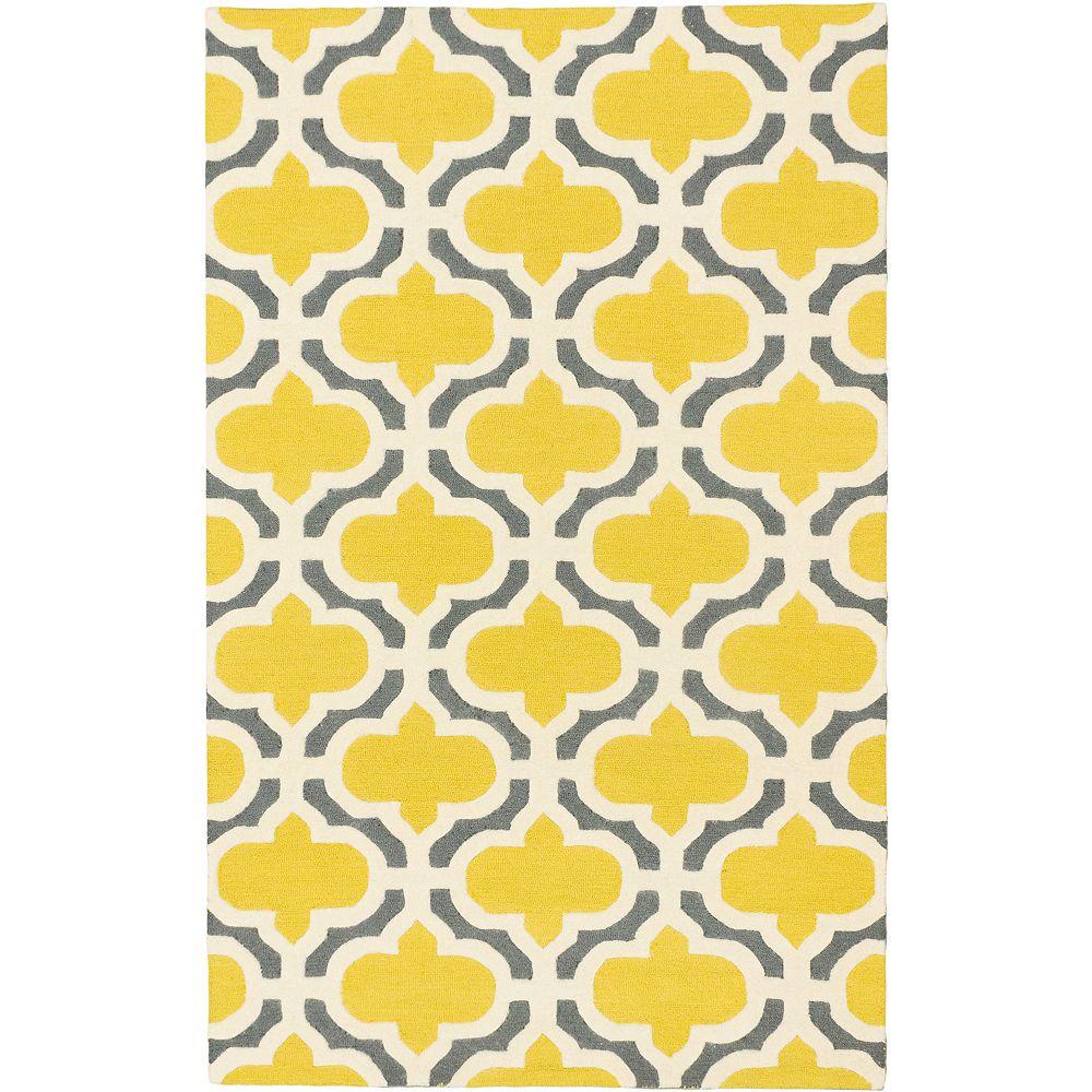 ECARPETGALLERY Carpette, 5 pi x 8 pi, fait main, rectangulaire, jaune Monaco
