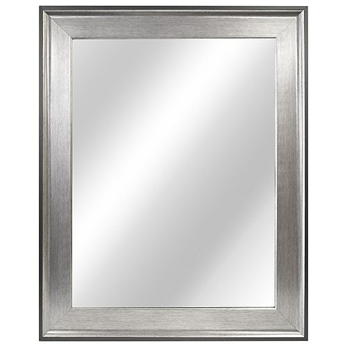 Home Decorators Collection 23-inch W x 29-inch L Framed Fog Free Wall Mirror in Two-Tone Pewter