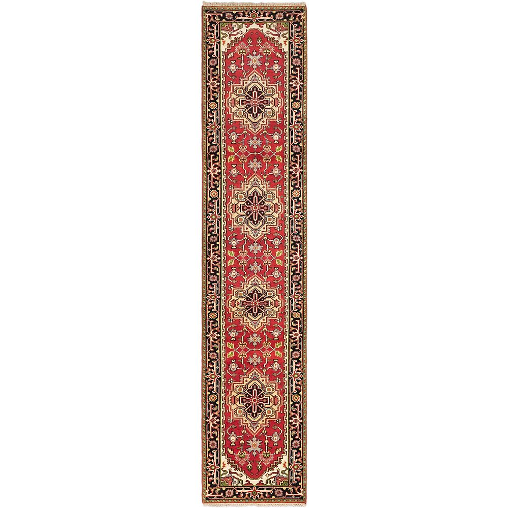 ECARPETGALLERY Tapis de passage d'intérieur, 2 pi 6 po x 11 pi 11 po, noué main, style traditionnel, rouge Batul