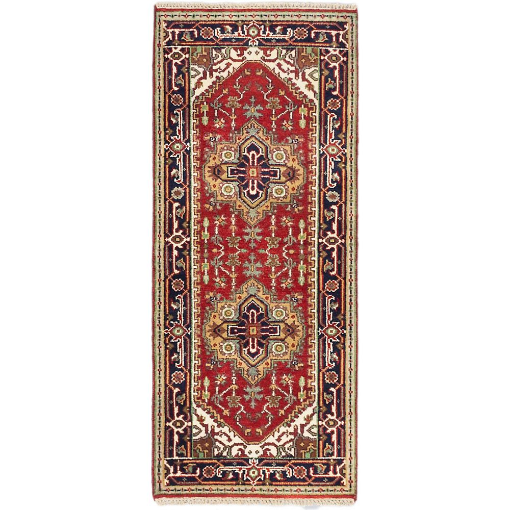 ECARPETGALLERY Hand-Knotted Batul Red 2 ft. 6-inch x 6 ft. 1-inch Area Rug