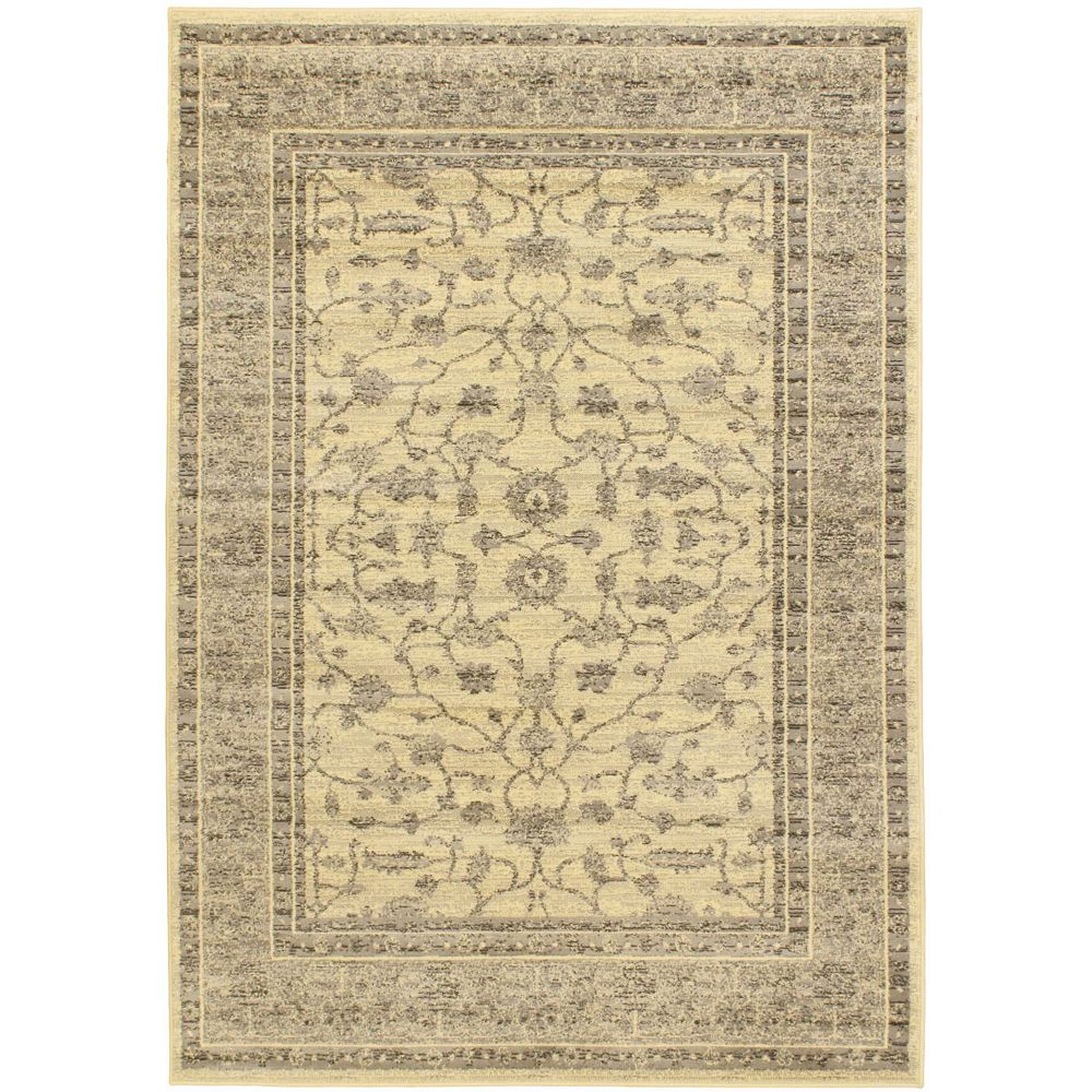 ECARPETGALLERY Classic Lotus Beige Tan 5 ft. 5-inch x 7 ft. 6-inch Indoor Traditional Rectangular Area Rug