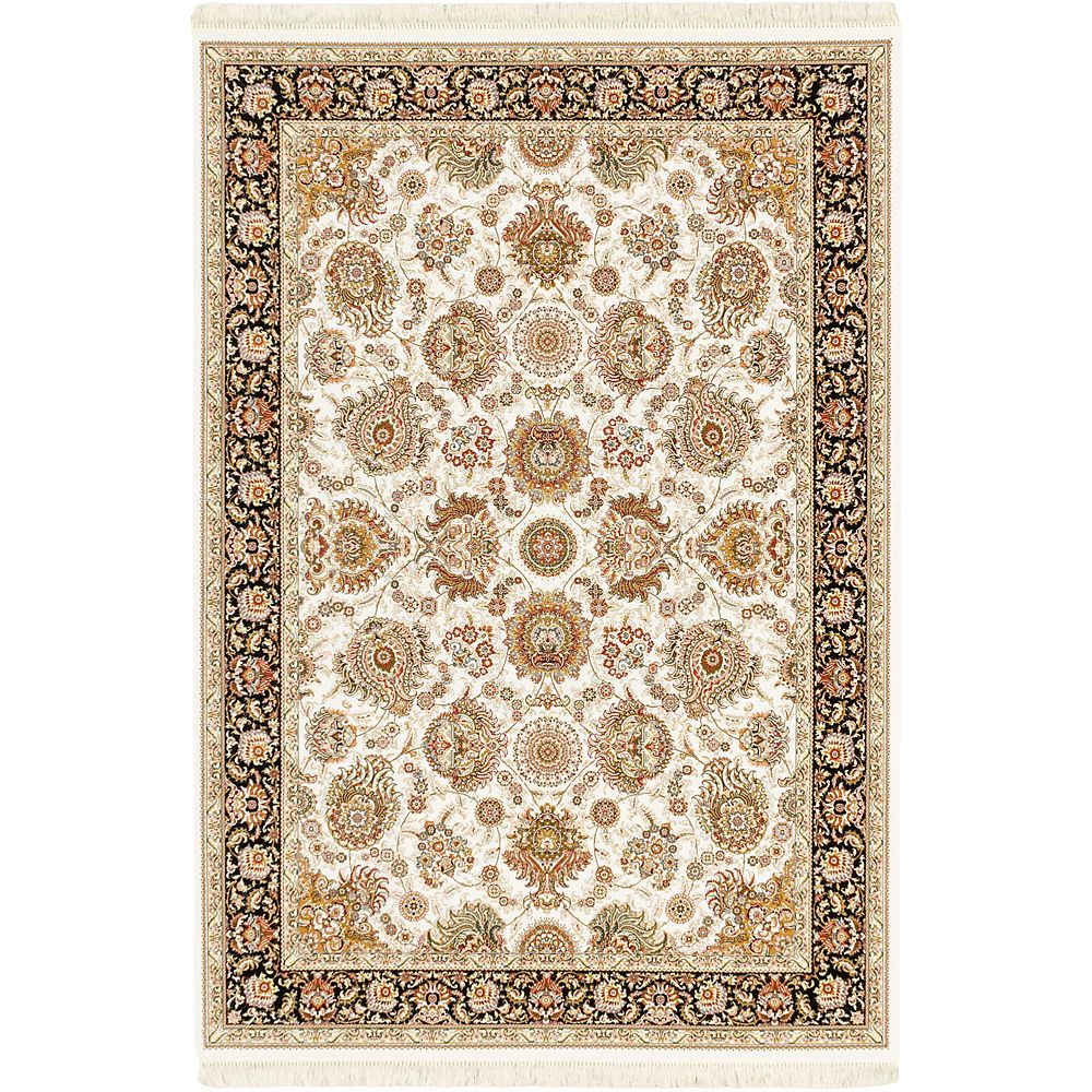 ECARPETGALLERY Hand Loomed King David Off-White 5 ft. 3-inch x 7 ft. 4-inch Rectangular Area Rug