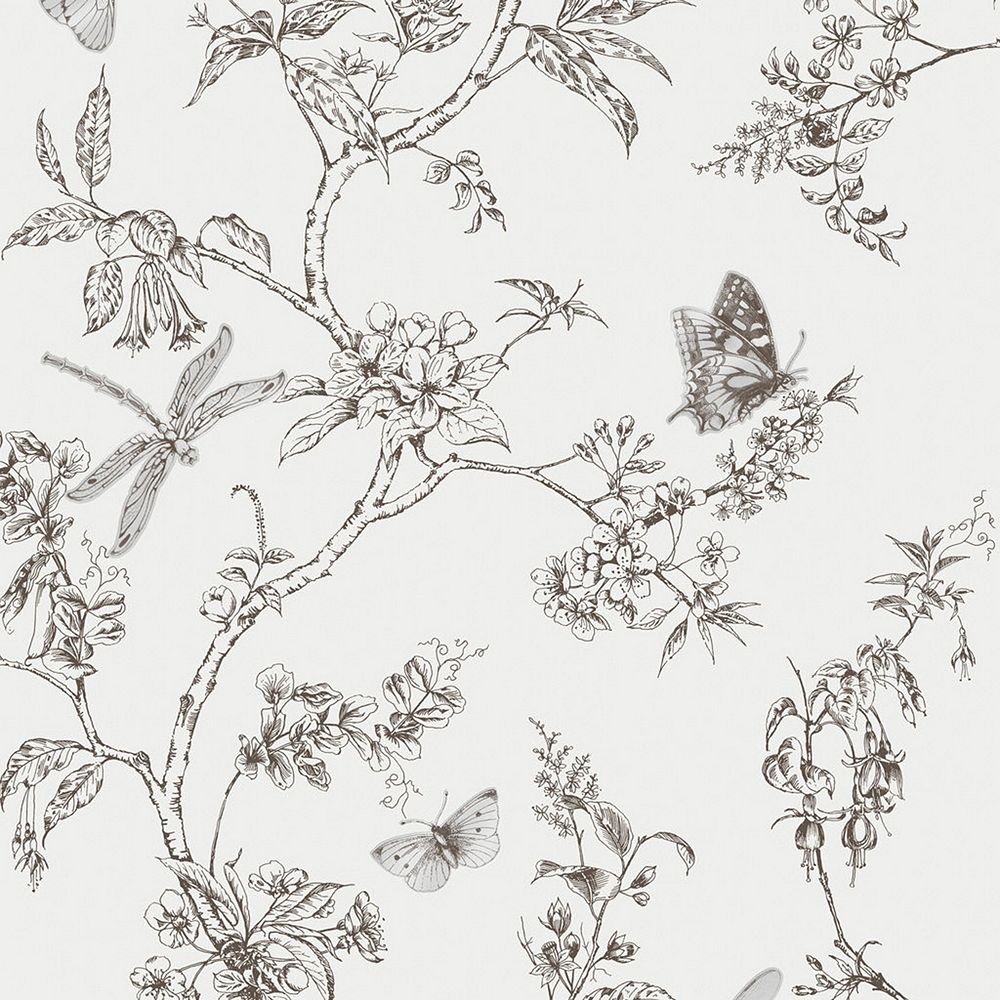 Superfresco Easy Nature Trail Black and White Mica Removable Wallpaper