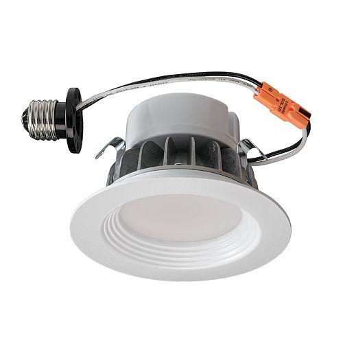 Luminaire encastré de modernisation à DEL en blanc mat  4 po