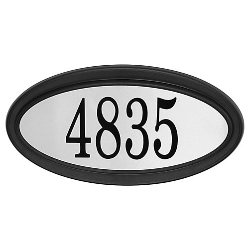 Oval Address Plaque, Black/Stainless Steel