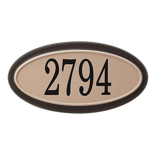 Plaque d'Adresse Ovale Classique, Moka/Sable