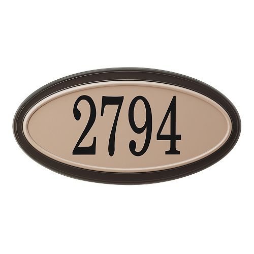 PRO-DF Classic Oval Address Plaque, Mocha and Sand