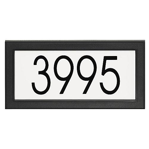Plaque d'Adresse Rectangulaire Moderne, Noir/Blanc