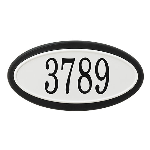 Oval Address Plaque, Black/White