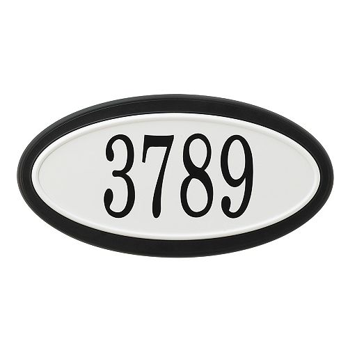PRO-DF Classic Oval Address Plaque, Black and White